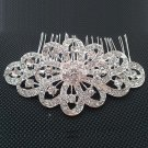 BRIDAL FLOWER HEADDRESS CLEAR RHINESTONE HAIR TIARA COMB RB639