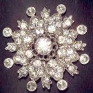 Bridal Round Vintage Style Butterfly Corsage Czech Rhinestone Brooch pin PI59