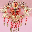 Bridal Red Rhinestone Butterfly dangle gold tone tiara Headpiece comb RB674