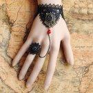 Gothic Lolita Sexy Bow black Belly dance slave bracelet - thin hand BR360