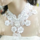 Bridal Gothic sexy Lolita Lace dangle Faux pearl rhinestone white necklace NR341