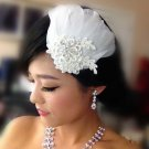 Bridal White feather Headpiece Hair flower Fascinator topknot clip BA179
