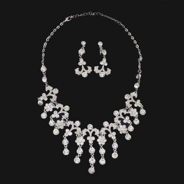 Bridal Clear Rhinestone Crystal silver tone necklace earring set NR480