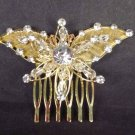 Bridal Rhinestone Butterfly gold tone Headpiece crystal Hair Comb RB567