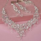 Bridal crystal silve tone clear Rhinestone elegant earring necklace set NR486