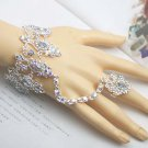 Bridal A B crystal silver tone slave Bracelet necklace earring set NR322