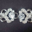 Repair Dress Crystal silver tone clear Rhinestone clasp hook buckle button BU13