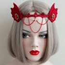 Masquerade Costume Party Red dangle Devil Queen hair headband headpiece HR420