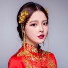 2 pcs Bridal Chinese gold tone flower Hair clip Phoenix Crown HR470