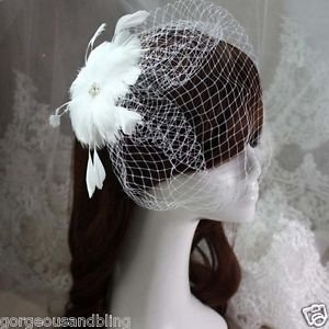 Bridal flower feather veil feather Birdcage Fascinator net hair clip BA205