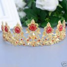 Bridal gold tone heart red rhinestone tiara Crown HR438