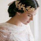 Bridal Rhinestone faux pearl gold tone leave forehead band hair Headpiece HR379