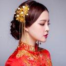 2 pcs Bridal Chinese gold tone flower Hair comb Phoenix Crown RB698