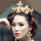 Baroque Bridal Rhinestone colorful rhinestone crown Hair tiara earring set HR427