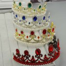 Bridal Faul pearl Queen Red green Blue gold Hair tiara Crown Headpiece HR402