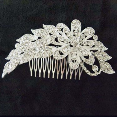 Bridal dance Rhinestone Flower headpiece Princess Prom Tiara comb RB654