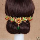 Bridal Chinese gold tone red green bead flower Hair comb Phoenix Crown RB688