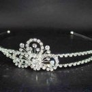Bridal Silver tone Wedding Crystal Clear Rhinestone Headband Tiara HR05
