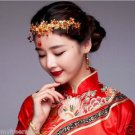 Bridal Chinese gold tone red dangle flower Hair comb Phoenix Crown HR440