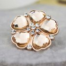 2 pcs pair Bridal Rose gold heart Flower Repair Rhinestone Shoe Charm clip SA50
