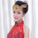 Bridal Chinese gold tone red bead Flower Hair comb tiara Phoenix Crown RB677