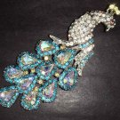 Bridal peacock crystal scarf decoration Blue Clear Rhinestone Brooch pin PI240