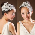 Bridal Feather Melbourne Cup white hair Faux pearl net lace Fascinator BA174