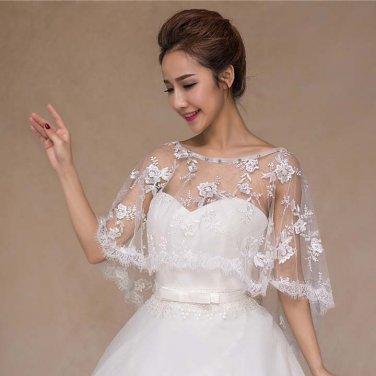 Bridal bow lace edge embroidery clasp Shrug white Shawl Stole Wrap Cape SF160