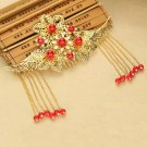 Bridal Chinese gold tone red dangle flower Hair comb Phoenix Crown earring RB697