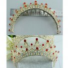 Bridal Red rhinestone Queen princess gold tone Hair tiara Crown Headpiece HR372