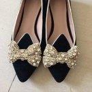 2 pcs a pair gold silver bow Bridal Prom Repair Rhinestone Shoe Charm Clips SA7