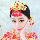 Bridal Chinese gold tone red bead dangle Hair comb Phoenix Crown comb RB701