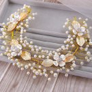 Bridal Faux pearl vine adjust leave Flower gold hair Boho chic headband HR398