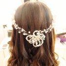 Bridal Rhinestone Bead Faux pearl Adjustable wire forehead band Hair Tiara HR338