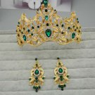Bridal Queen gold tone Red Green rhinestone Hair Head tiara Crown Earring  HR386