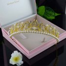 Bridal Faul pearl Queen princess gold tone Hair tiara Crown Headpiece HR370