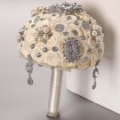 HANDMADE Wedding Brooch Bouquet Artificial Ivory Flower Faux pearl Posy WB29