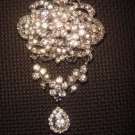 Bridal Silver tone Dangle Vintage style Clear Rhinestone Brooch pin PI407