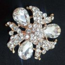 Bridal prom Light gold crystal scarf deco Czech Rhinestone Brooch pin PI605