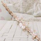 Baroque Bridal faux pearl flower colorful gold tone adjust Hair tiara set HR437