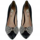 2 pcs Bow Bridal Prom checker black Repair Clear Rhinestone Shoe Charm Clip SA8
