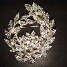 Bridal wreath Corsage Czech Clear crystal Rhinestone Brooch pin Pi269