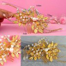 BRIDAL PROM ROSE GOLD TONE HEADDRESS CLEAR RHINESTONE HAIR TIARA COMB RB692