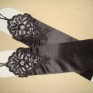 "14"" Bridal prom ivory black Lace Satin Fingerless Gloves S14"