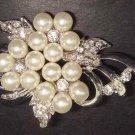 Bridal Faux pearl Corsage Vintage style Czech Rhinestone Brooch pin PI126