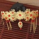 Bridal Chinese gold tone red bead dangle flower Hair comb Phoenix Crown RB679