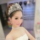 Huge Bridal silver tone crystal clear rhinestone Hair head Princess Crown HR406