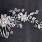 Bridal Clear Rhinestone silver tone  Flower Headpiece head Hair tiara Comb RB591