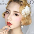 Bridal Gold tone Faux pearl white prom feather dance headband HR479