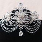 Bridal silver tone prom party crown dange rhinestone queen Hair tiara HR471
